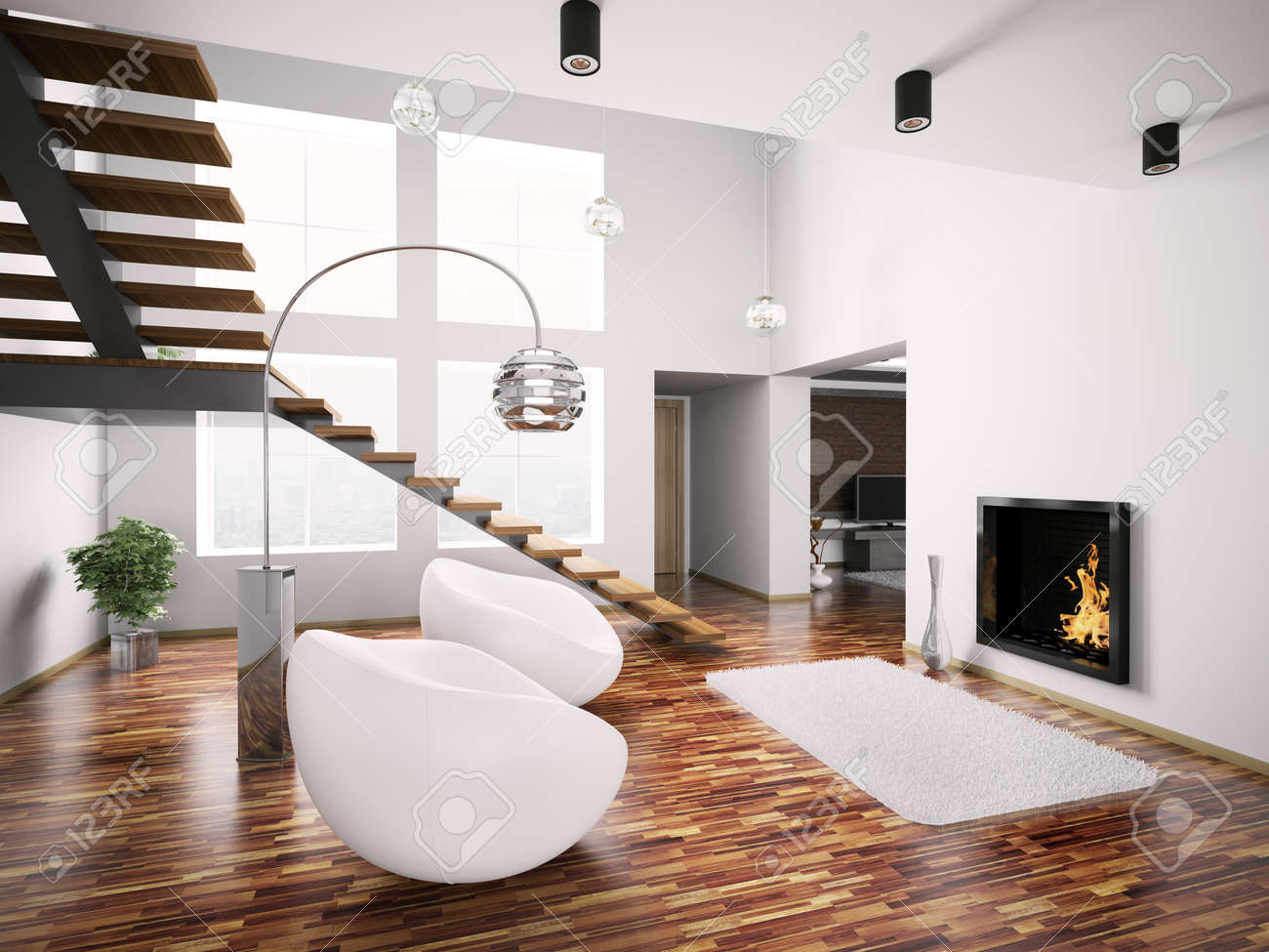 Modern interior with fireplace and staircase 3d render Stock Photo - 7639336