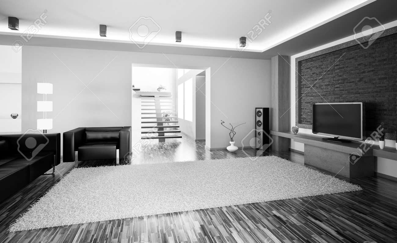 schwarz weiß wohnzimmer mit lcd interior 3d render lizenzfreie
