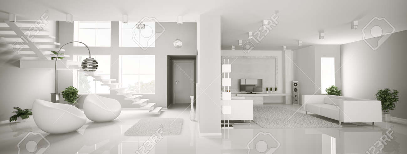 White Apartment white apartment interior panorama 3d render stock photo, picture