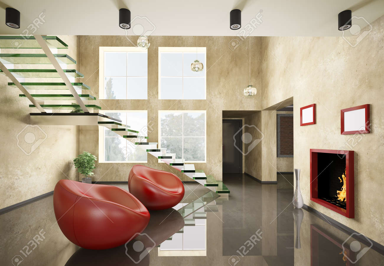 modern interior with glass staircase and fireplace 3d render stock
