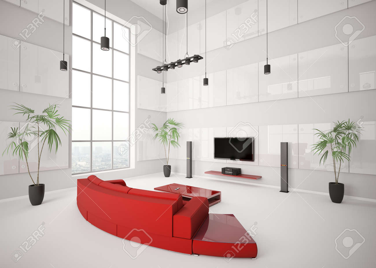 White Living Room With Red Sofa And Lcd Interior 3d Render Stock ...