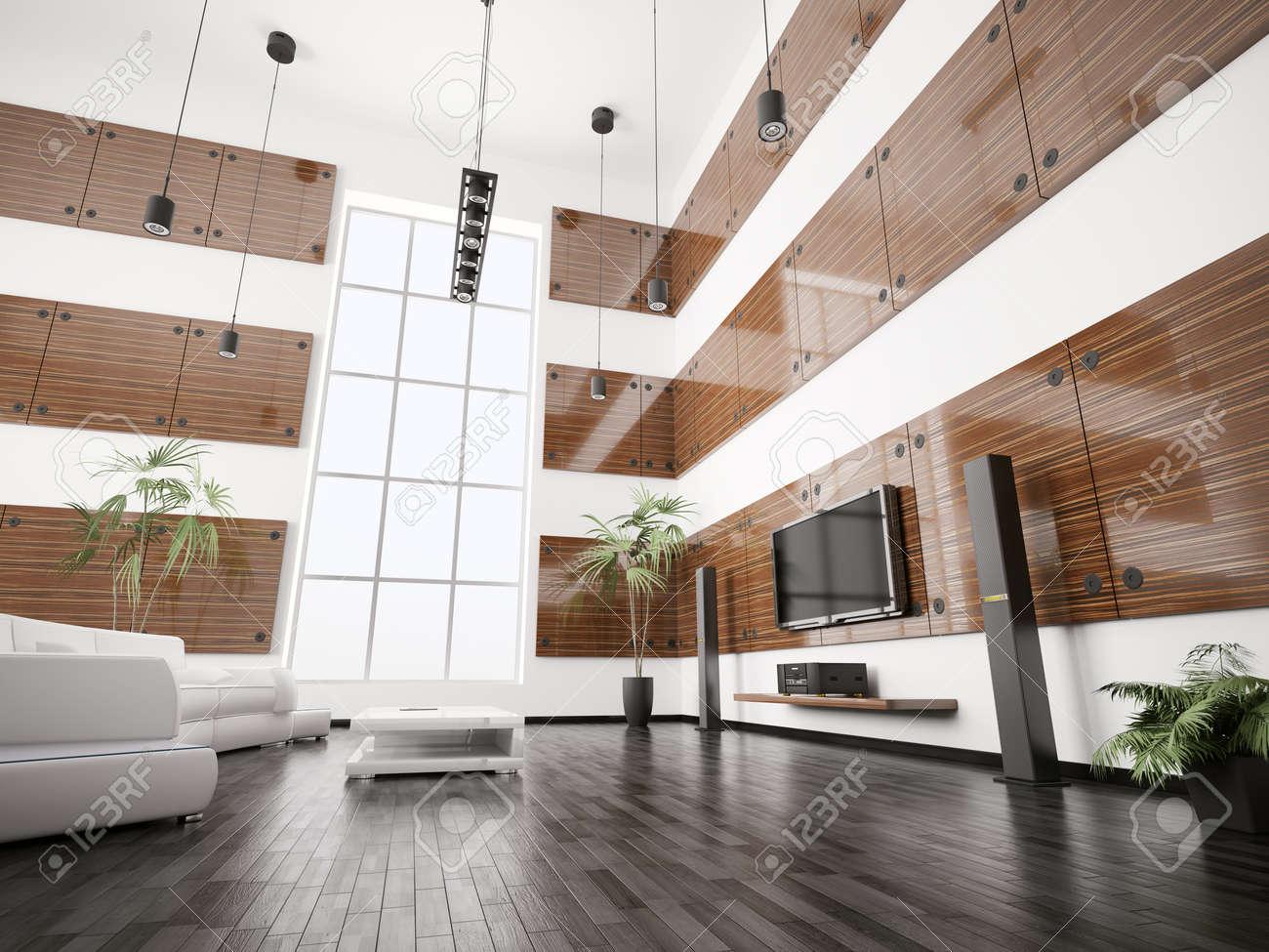 Woonkamer met ebben houten panelen interieur 3d renderen royalty ...