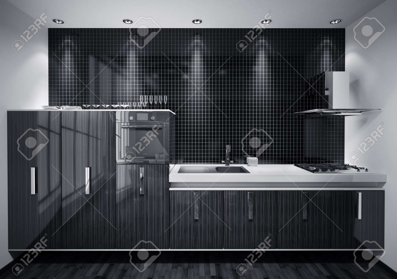 Interior of modern kitchen made with wood over mosaic wall 3d render Stock Photo - 7918423