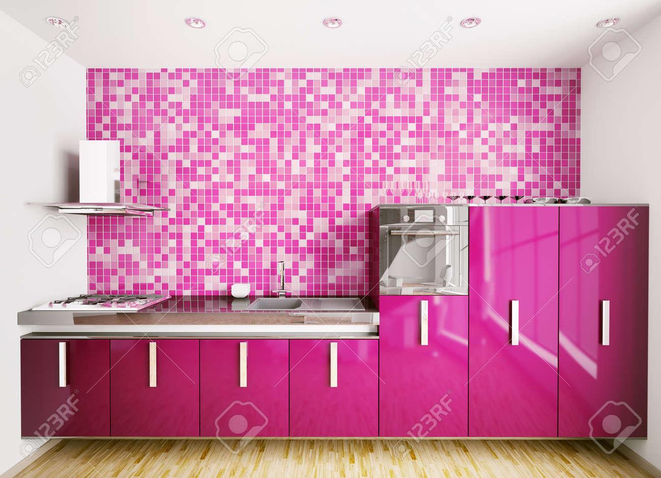 interior of modern purple kitchen over mosaic wall 3d render stock