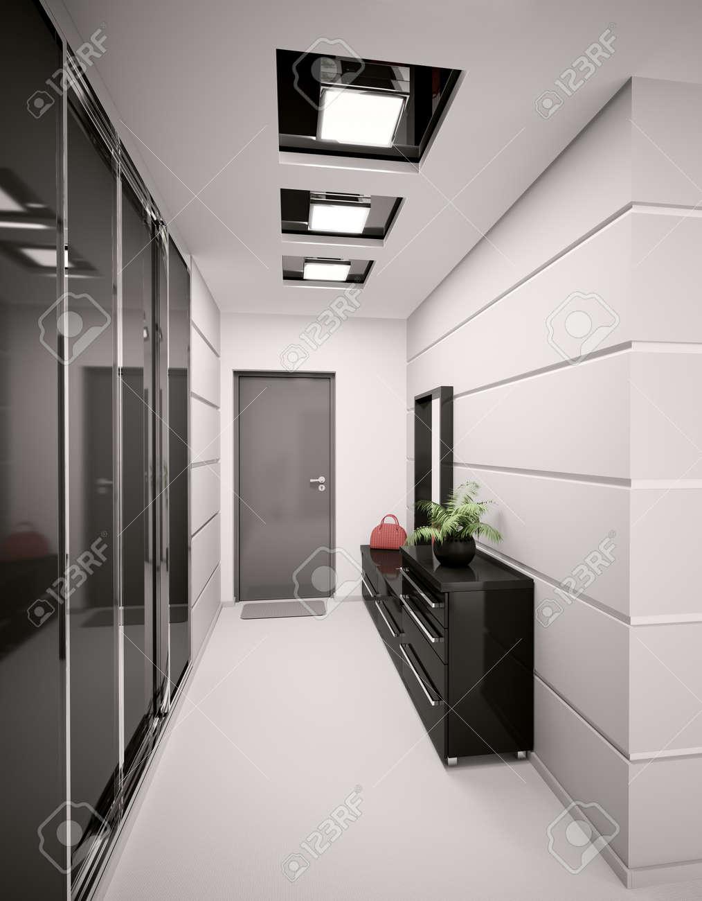 Intérieur Du Hall D\'entrée Moderne En 3D Rendent Appartement ...