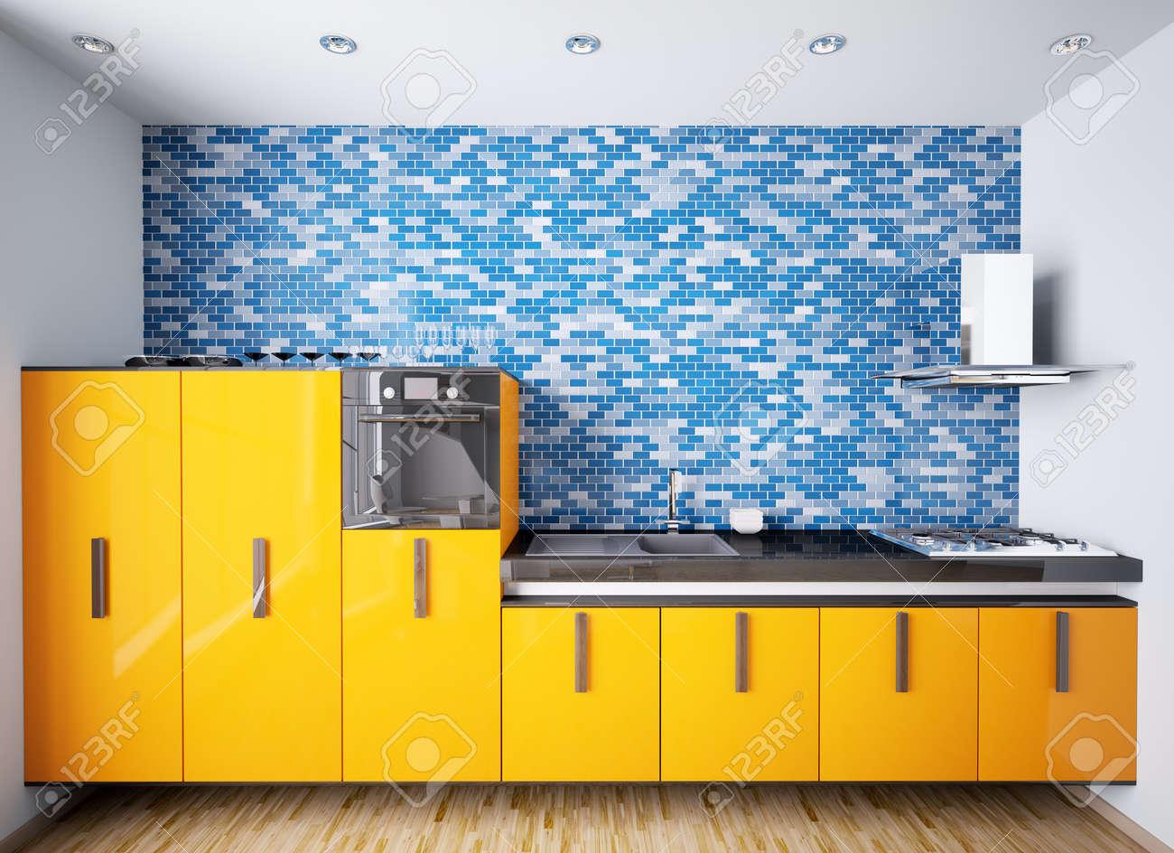 Interieur Van Moderne Oranje Keuken Over Blauwe Mozaïek Muur 3d ...
