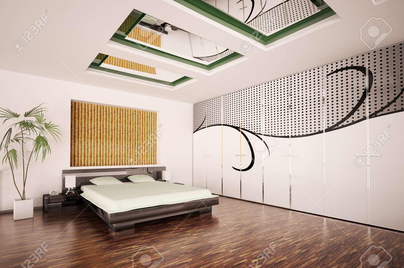 Moderne Schlafzimmer Interieur Mit Großen Muster Auf Den ...