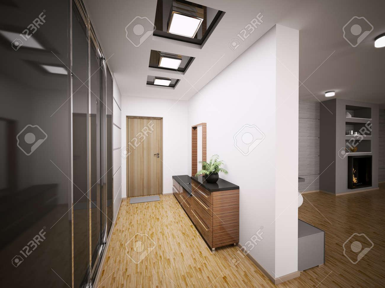 Intérieur Du Hall D\'entrée Moderne En 3D Rendent Appartement Banque ...