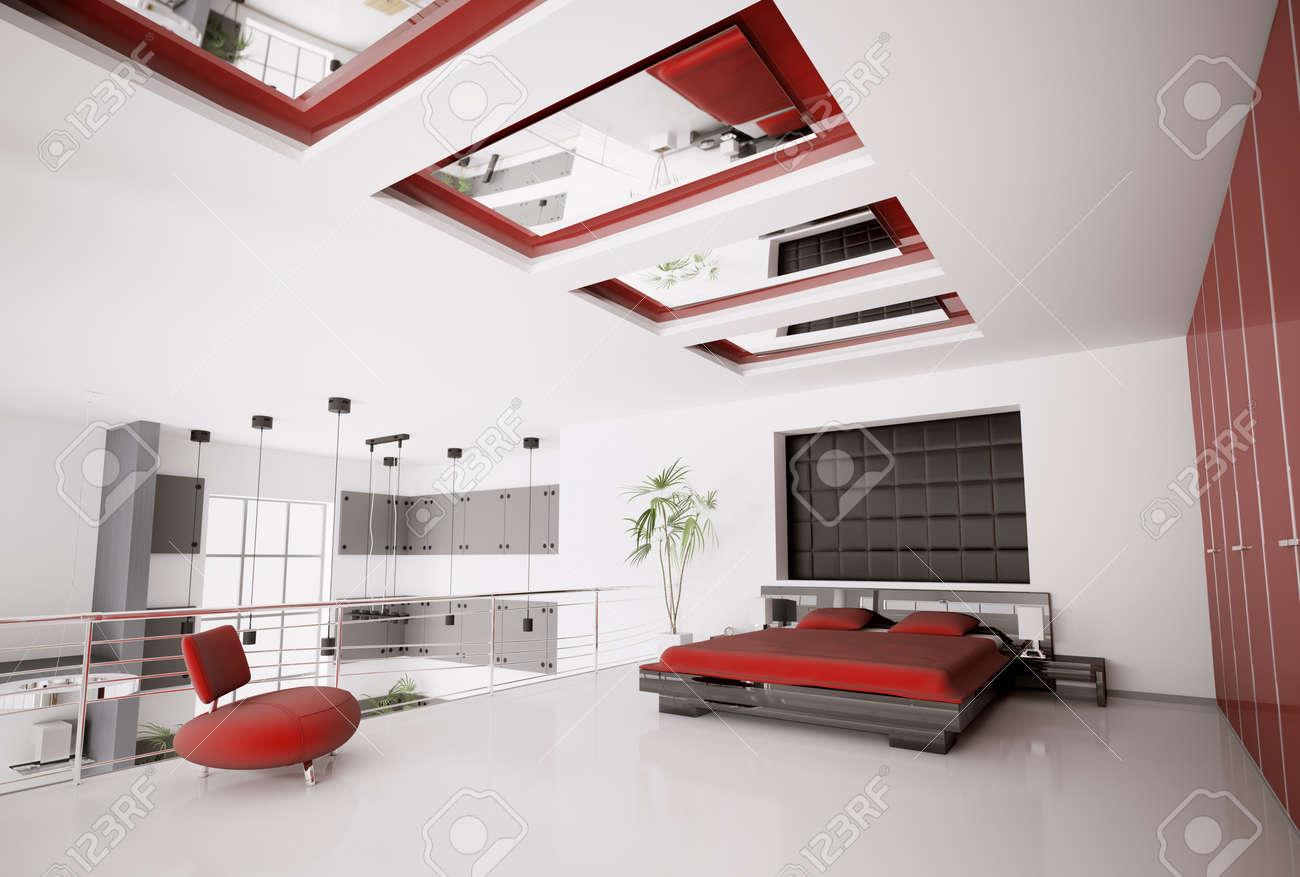 Intérieur de rendu 3d moderne de la chambre noire rouge blanc ...