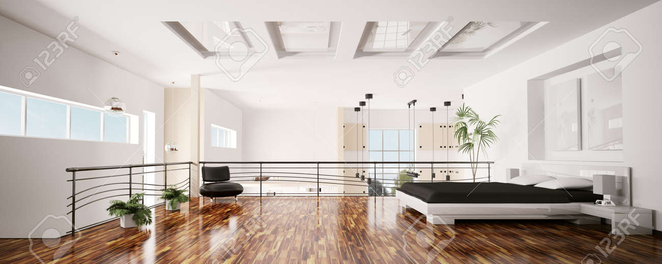 Interior of modern bedroom panorama 3d render Stock Photo - 7991052