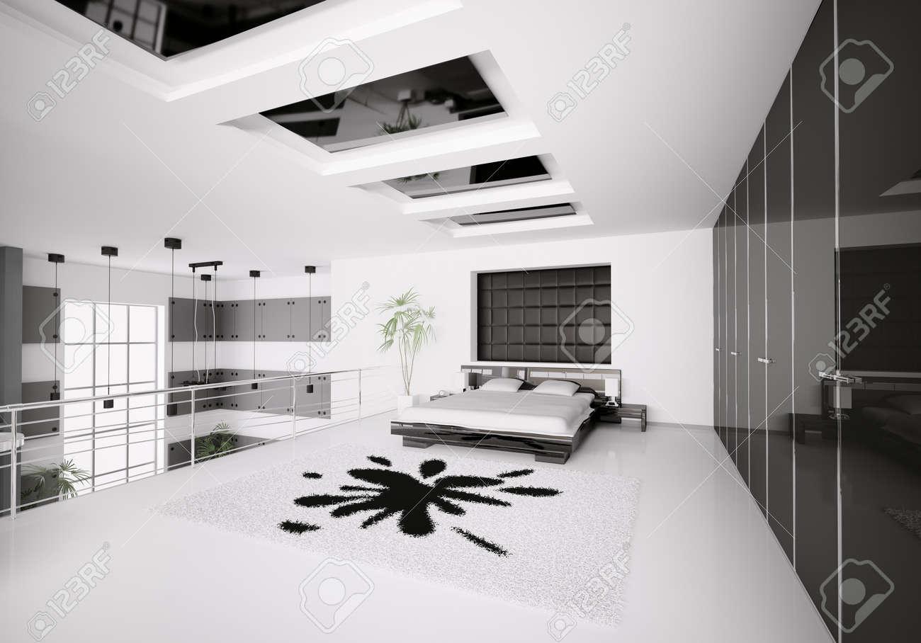 Intérieur de rendu 3d moderne de chambre à coucher noir blanc