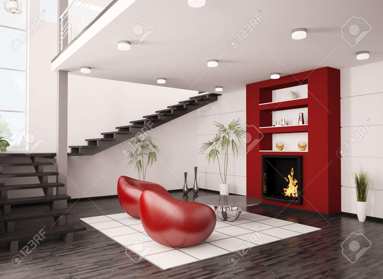 Moderne interieur van woonkamer met open haard en trap 3d render ...