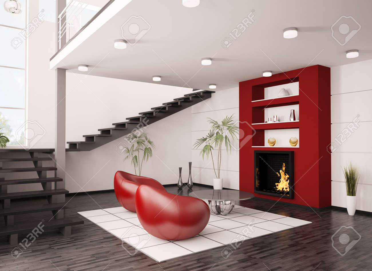 Escalier Moderne Dans Salon modern interior of living room with fireplace and staircase 3d..