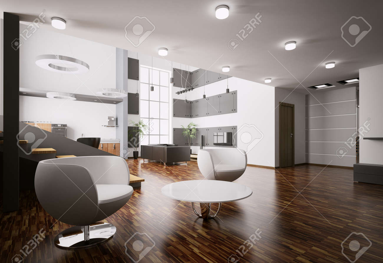 Modern apartment living room - Interior Of Modern Apartment Living Room Kitchen Hall 3d Render Stock Photo 7991060