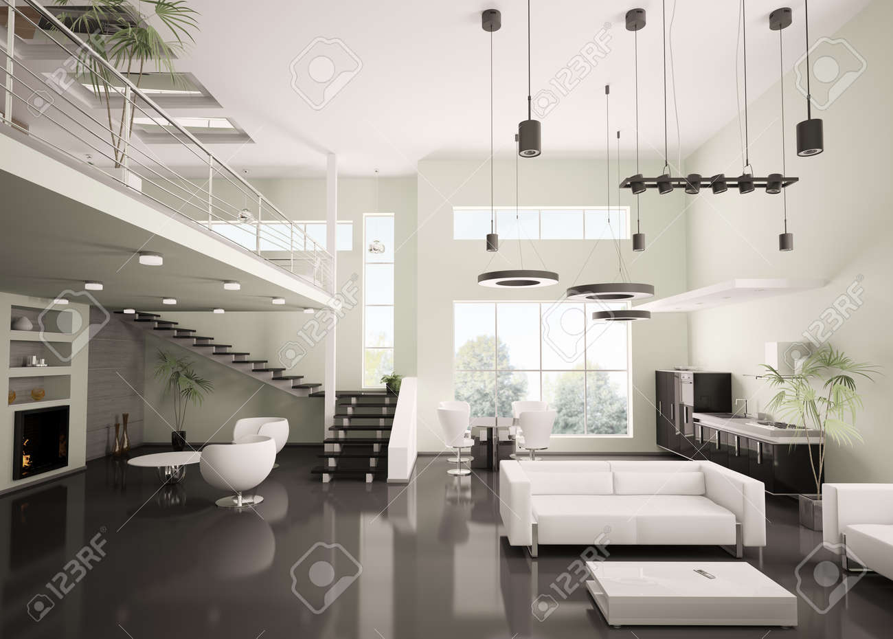 Modern apartment living room - Interior Of Modern Apartment Living Room Kitchen 3d Render Stock Photo 8040632