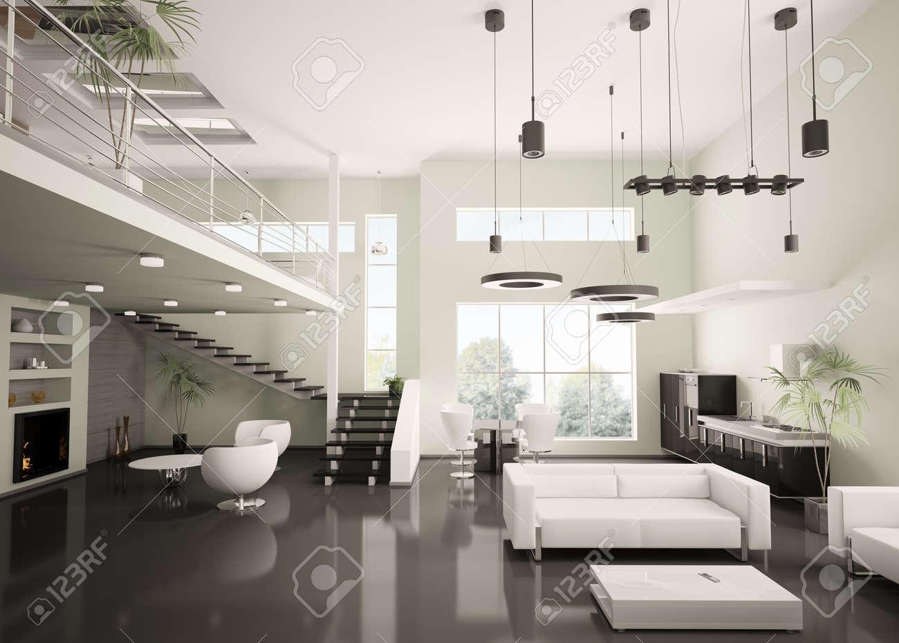 Interior Of Modern Apartment Living Room Kitchen 3d Render Zdjęcia ...