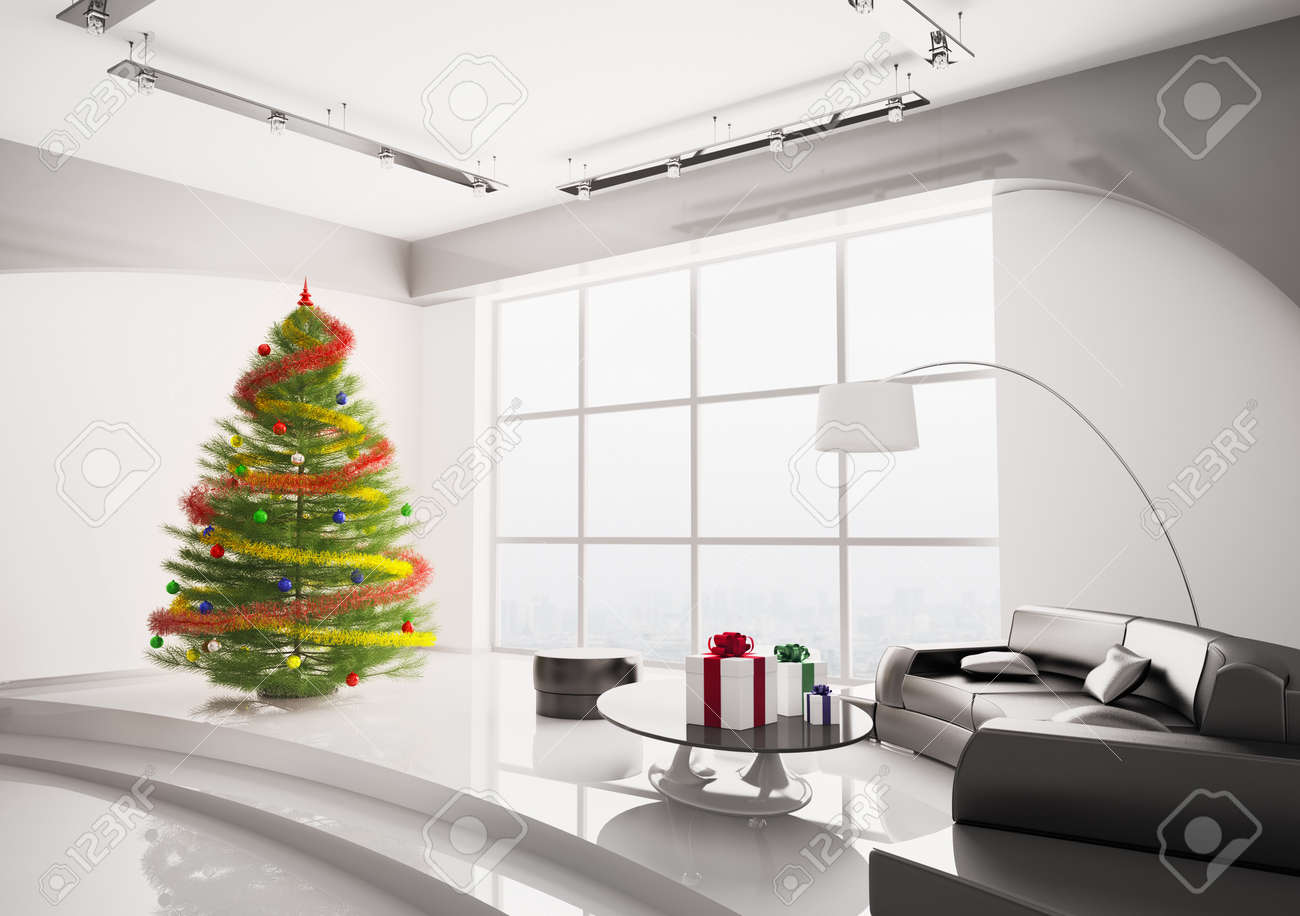 Christmas Fir Tree With Decorations In Modern Living Room Interior ...
