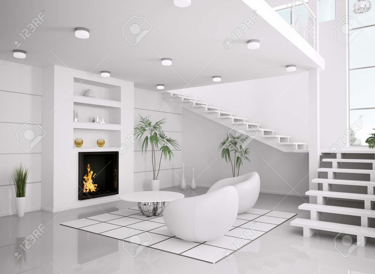 Modern White Interior Of Living Room With Fireplace And Staircase ...