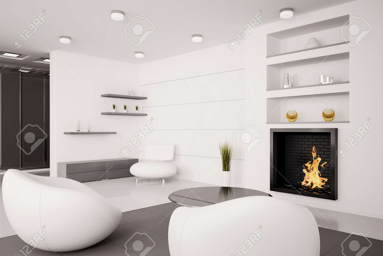 Modern interior of living room with fireplace 3d render Stock Photo - 8053231