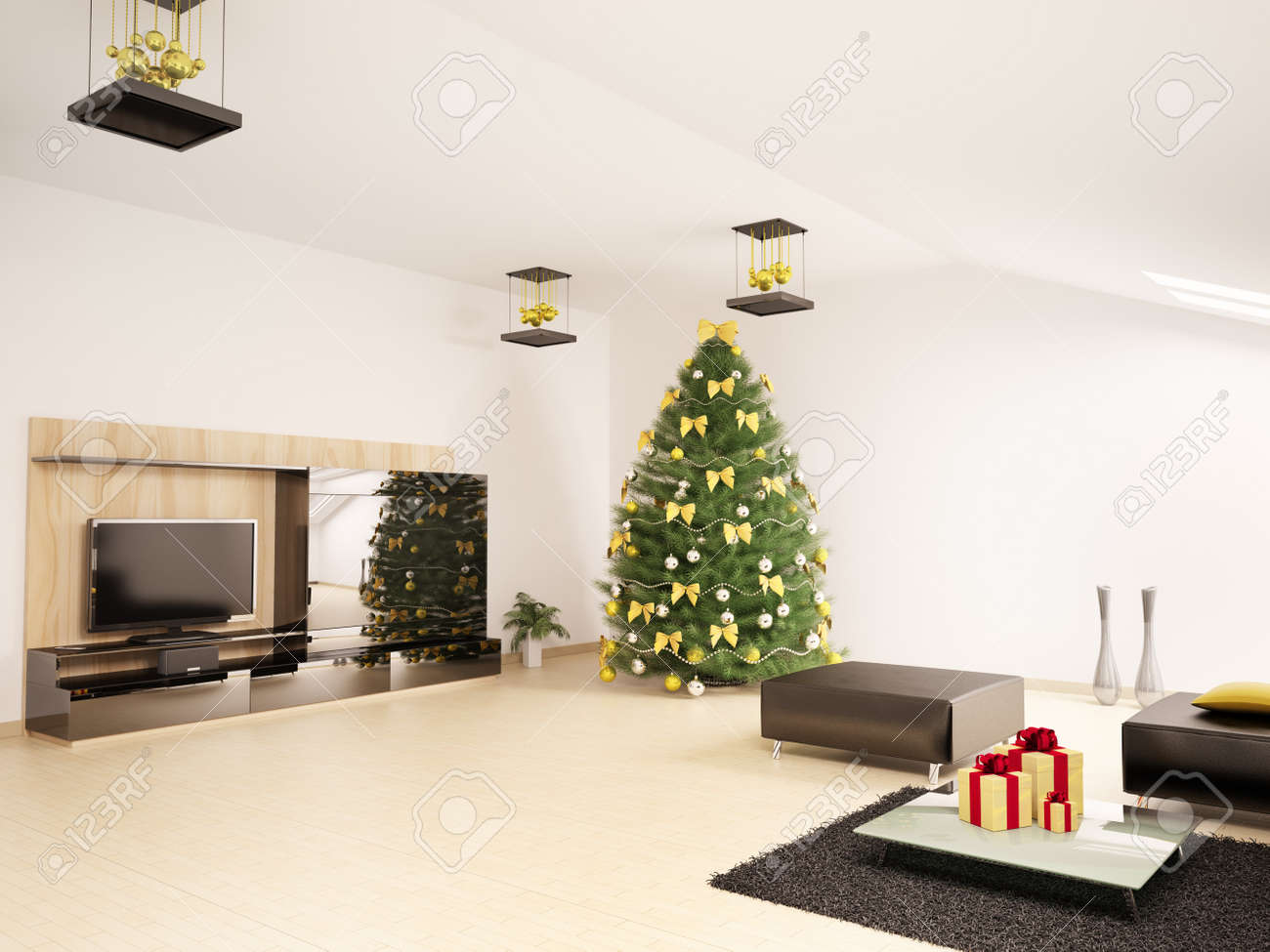 Xmas Living Room Christmas Fir Tree With Decorations In Modern Living Room Interior