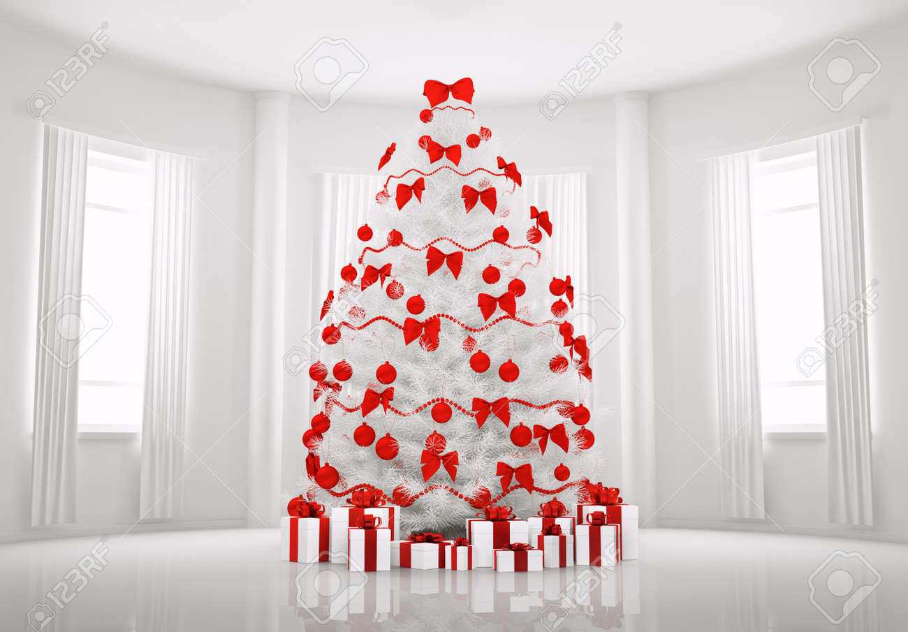 Christmas Tree With Red Decorations In The White Room Interior ...