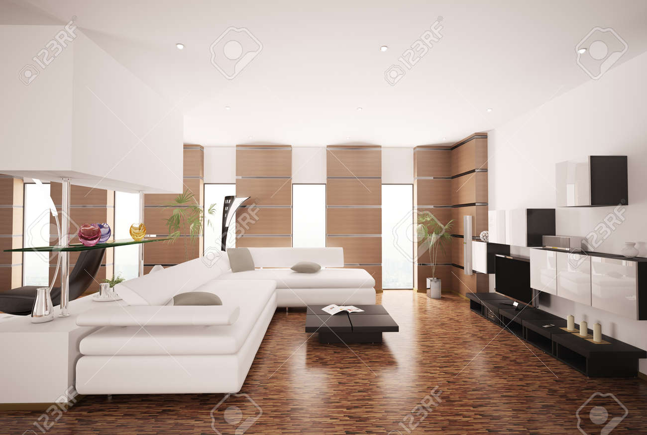 Living Room White Modern Living Room Furniture modern living room with white sofa and lcd interior 3d render stock photo 8334500