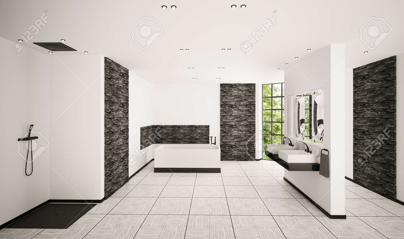 Modern Bathroom With Black Brickwalls Interior 3d Render Stock Photo