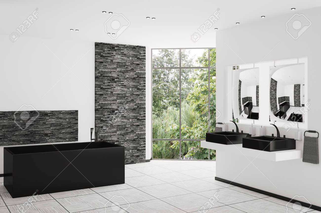 Interior of modern bathroom with black bath and sinks 3d render Stock Photo - 8407652