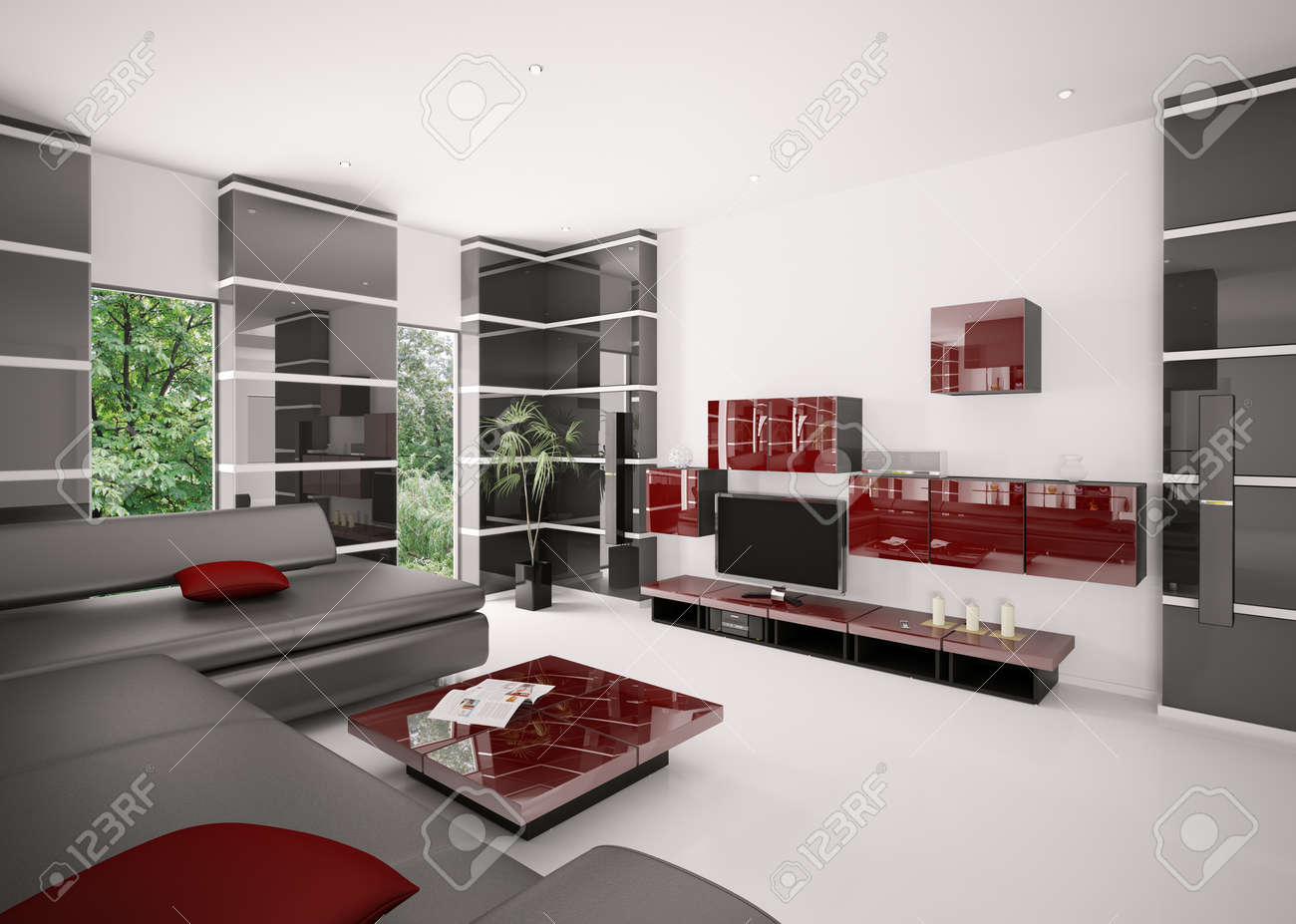 Modern living room with black sofa red table and LCD interior 3d render Stock Photo - 8407660