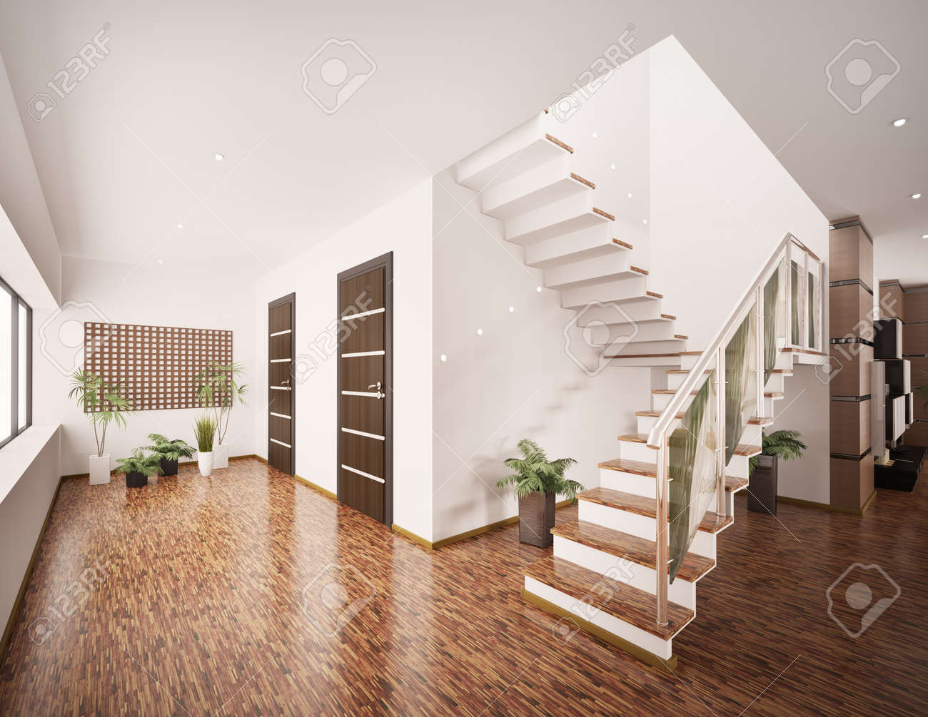 Intérieur du hall d\'entrée avec escalier moderne, rendu 3d