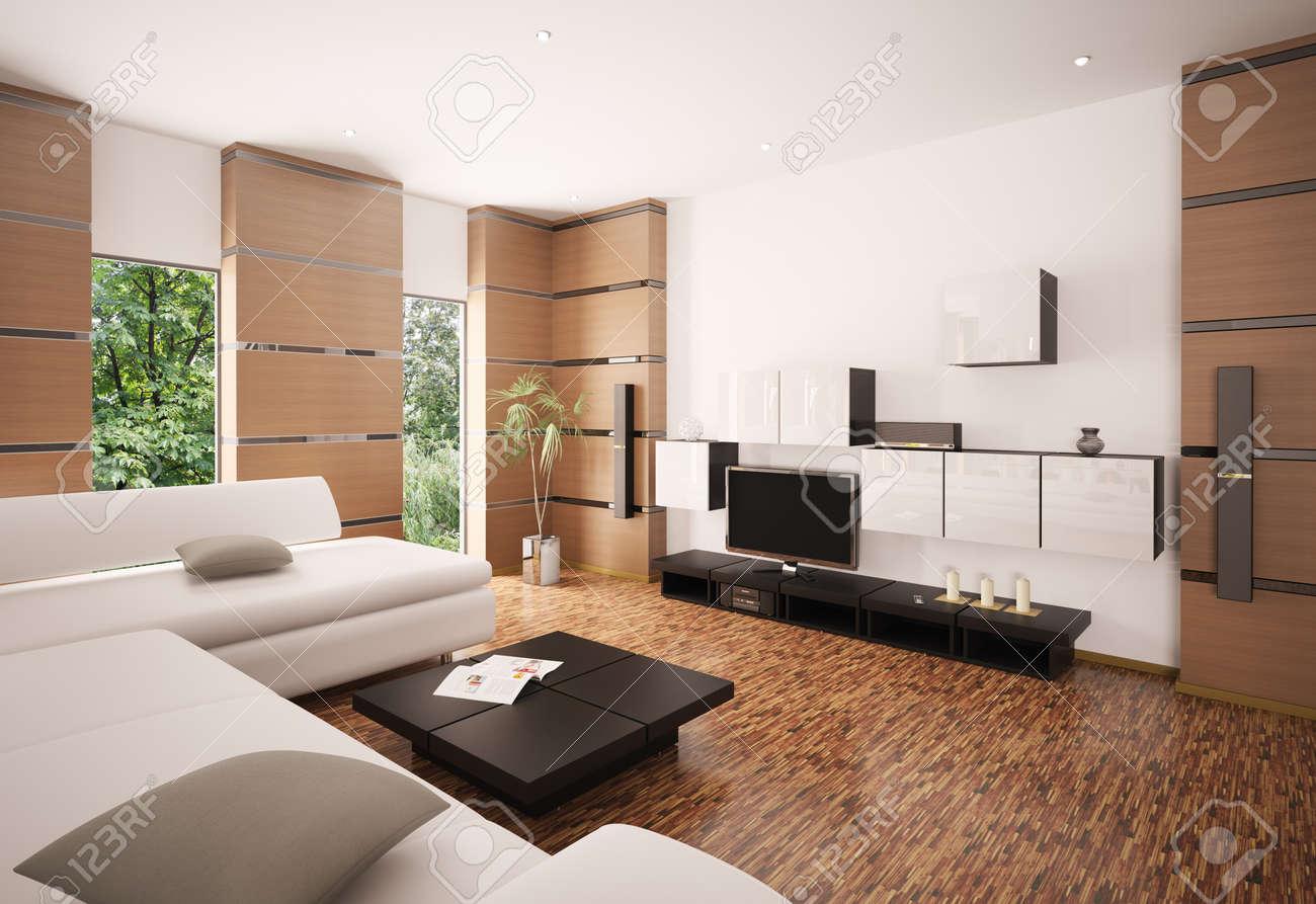 Moderne woonkamer met witte sofa zwart tafel en lcd interieur 3d ...