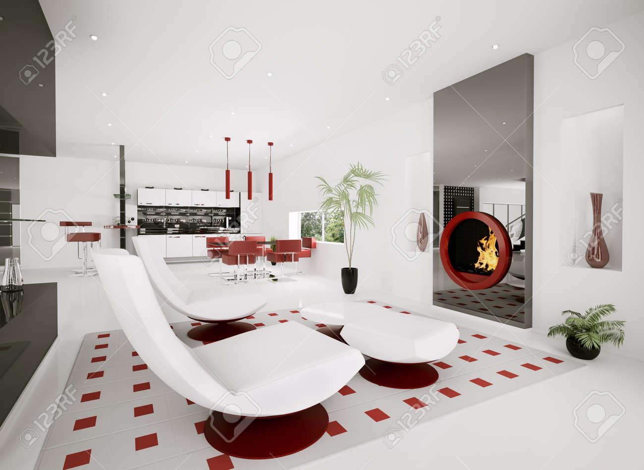 Interior of modern apartment living room kitchen 3d render Stock Photo - 8468850