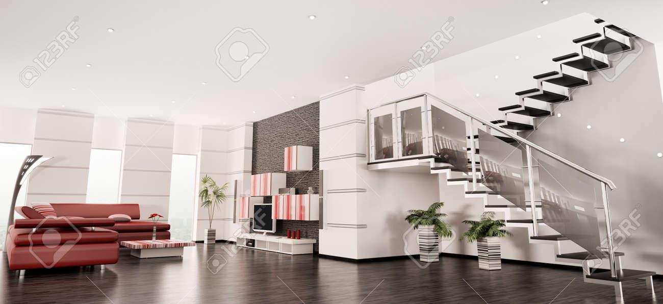 Apartamento De Diseño Con Procesamiento 3d De Escalera Interior ...