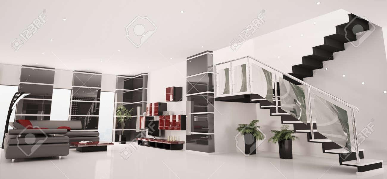 apartamento de diseo con d de escalera interior panorama foto de archivo