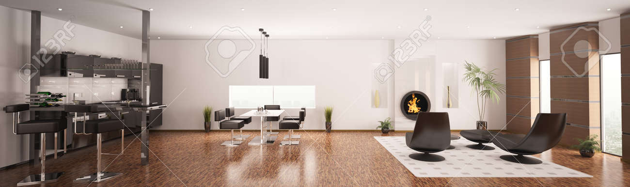 Interior of modern apartment living room kitchen panorama 3d render Stock Photo - 8561934