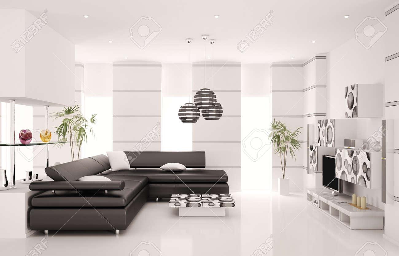 Moderne salon avec canapé noir et de rendu 3d intérieur de LCD