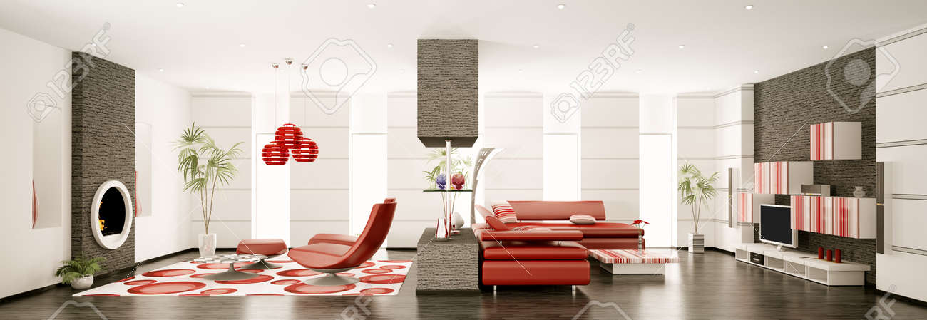 Interior of modern apartment panorama 3d render Stock Photo - 8628277