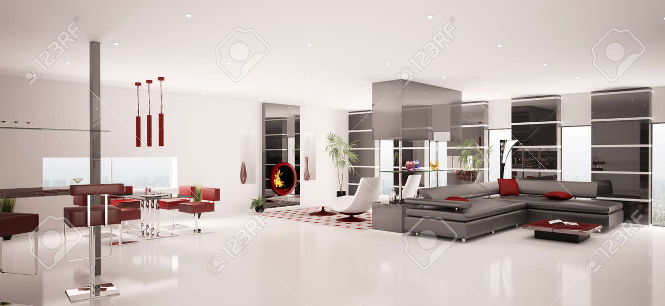 Interior of modern white living dining room panorama 3d render Stock Photo - 8791994