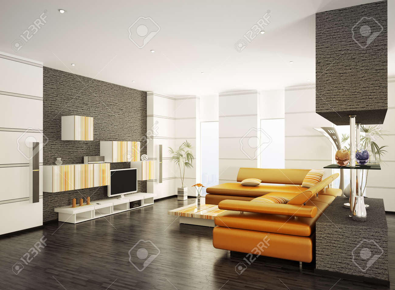 Modern Living Room With Orange Sofa And LCD Interior 3d Render Stock ...