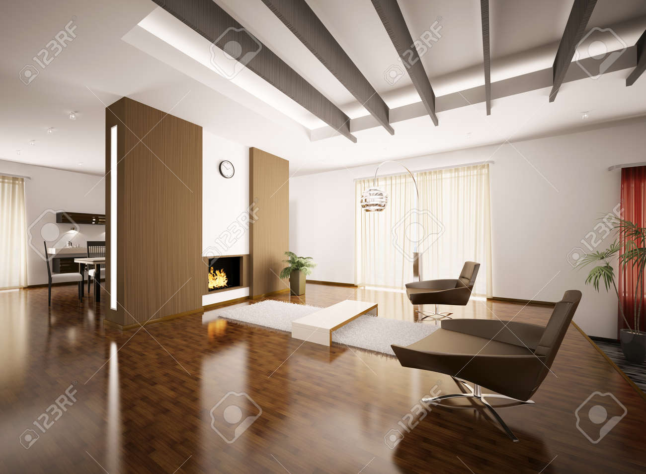 modern apartment interior with fireplace 3d render stock photo