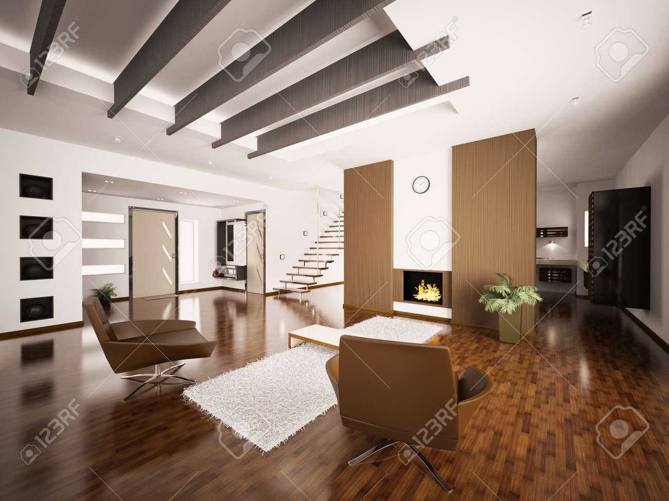 moderno appartamento interni con camino e scalinata salotto sala ... - Immagini Soggiorno Moderno Con Camino 2
