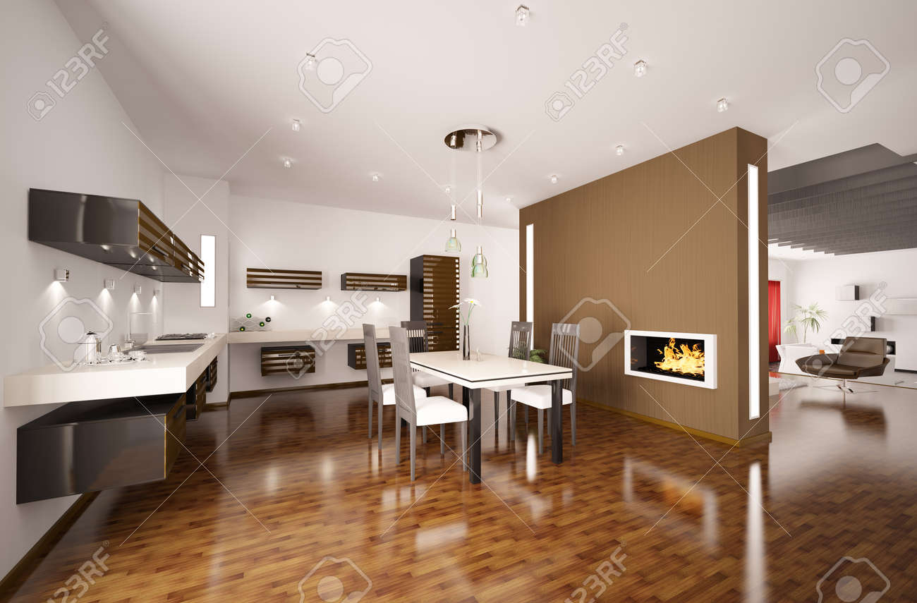 interior of modern brown kitchen with fireplace 3d render stock