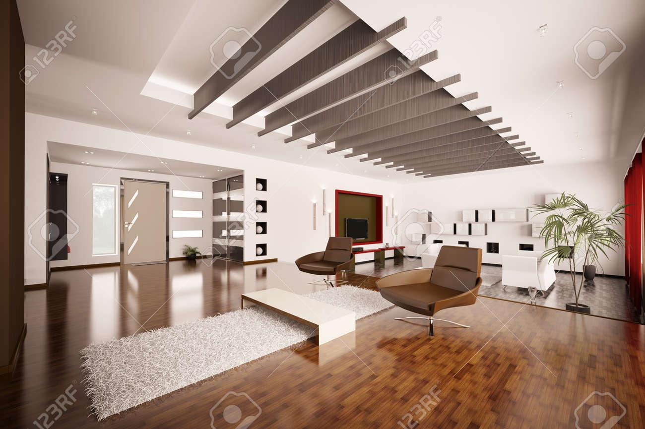 Modern apartment interior living room hall 3d render Stock Photo - 8898712