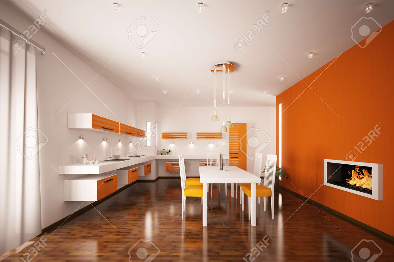 Orange Kitchen Interior Of Modern Orange Kitchen With Fireplace 3d Render Stock