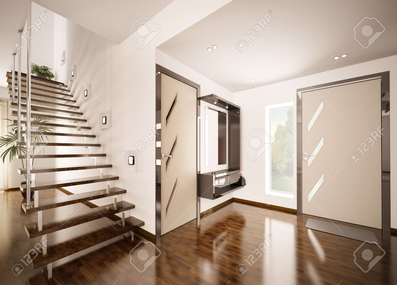 Modern interior of hall with staircase 3d render stock photo