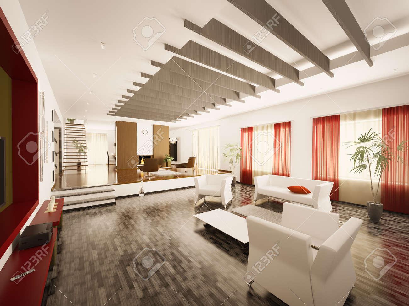 Interieur van moderne woonkamer met trap en open haard 3d render ...