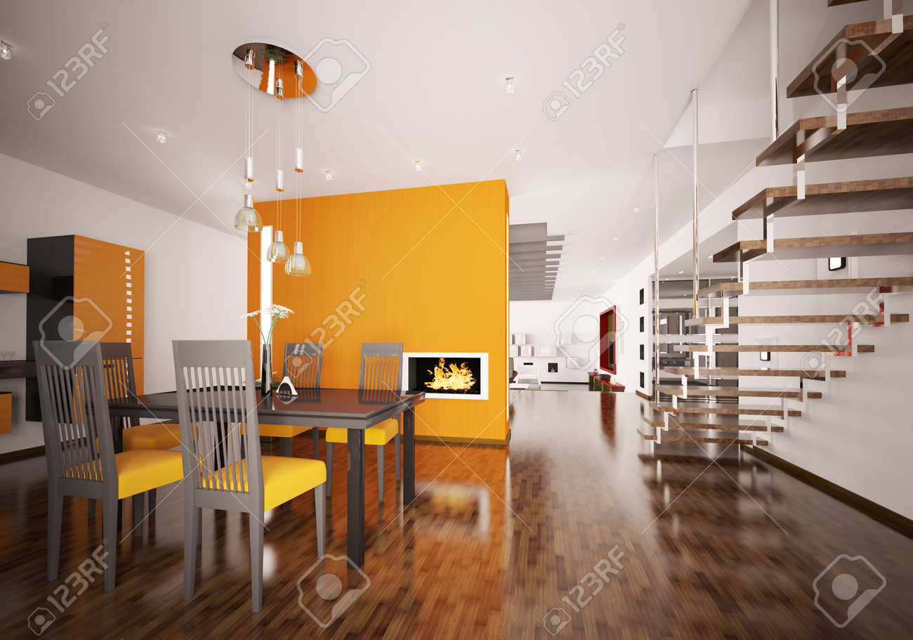 Interior of modern orange kitchen with fireplace 3d render Stock Photo - 8898718