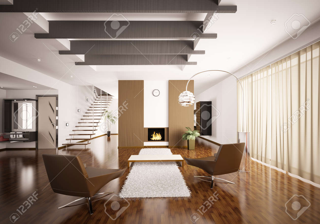 Modern apartment living room - Interior Of Modern Apartment Living Room Hall 3d Render Stock Photo 8898720