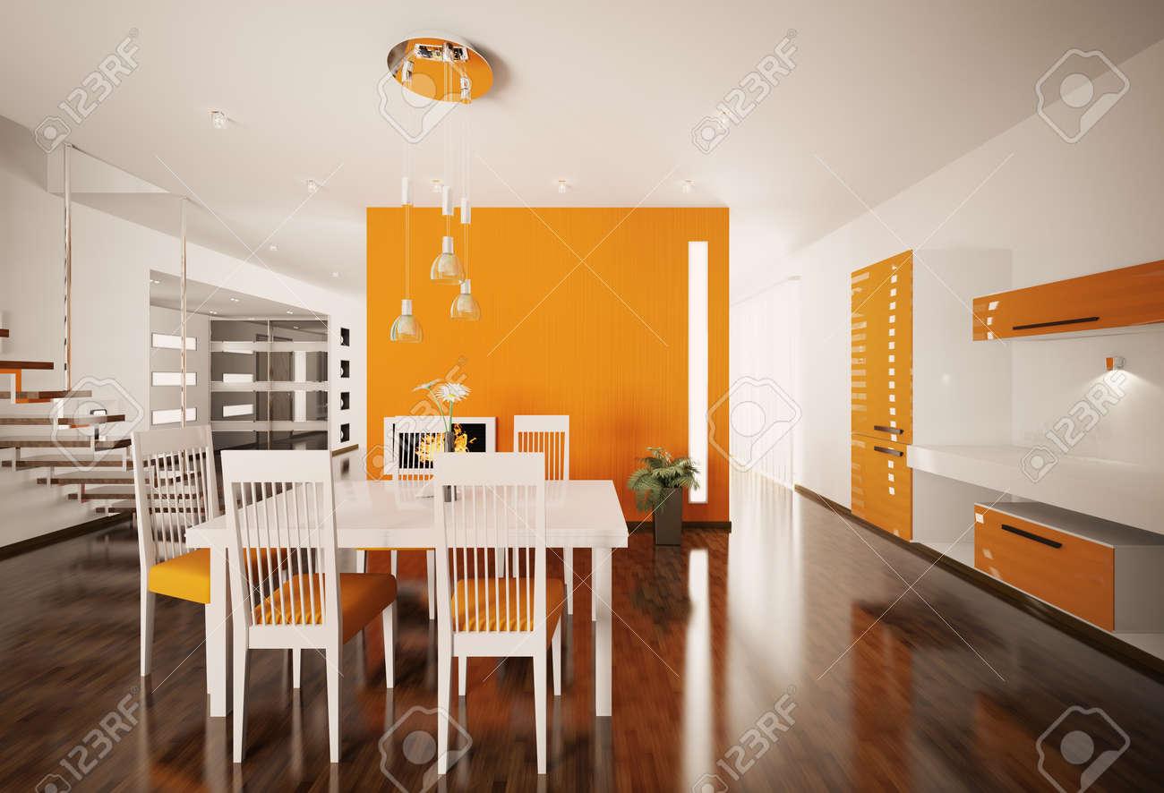Intérieur de rendu 3d de cuisine moderne de blanc orange banque d ...