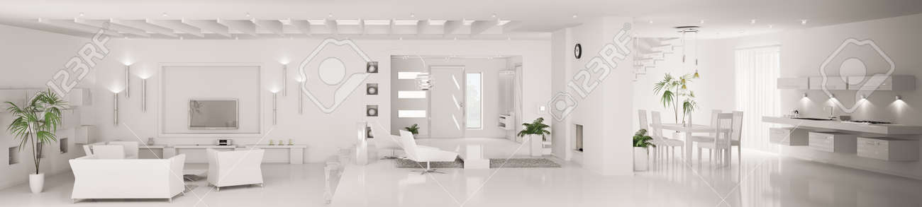 White home interior of modern apartment living room kitchen hall panorama 3d render Stock Photo - 8957670